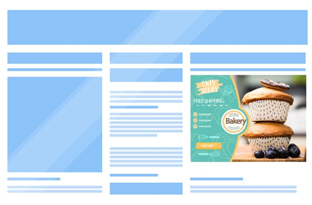 Encart publicitaire pour promotion de boutique en ligne
